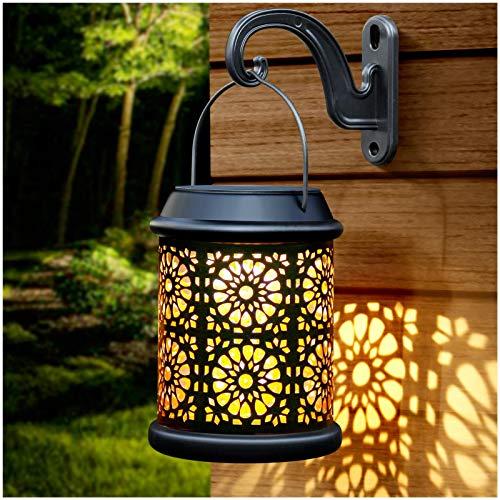DenicMic Solar Lantern Lights Outdoor Hanging Solar Lanterns Metal Table Lamp with Handle & Hook...