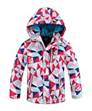 Hiheart Girls Boys Waterproof Fleece Lined Jacket Hood Windproof Rain Coat Pink 7/8