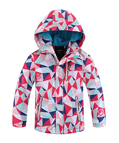 Hiheart Girls Boys Waterproof Fleece Lined Jacket Hood Windproof Rain Coat Pink 5/6