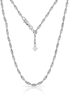Verona Jewelers 925 Sterling Silver 1.5MM Adjustable Singapore Chain Twist Chain Necklace for Women- 24