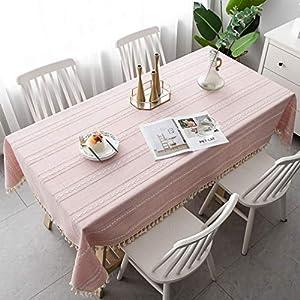 Pahajim Mantel Impermeable Borlas Pequeño Estilo Fresco Manteles Antimanchas Adecuado para Cocinas Exteriores O Interiores Mantel Mesa Rectangular(Rectangular/Oval,140x180cm)