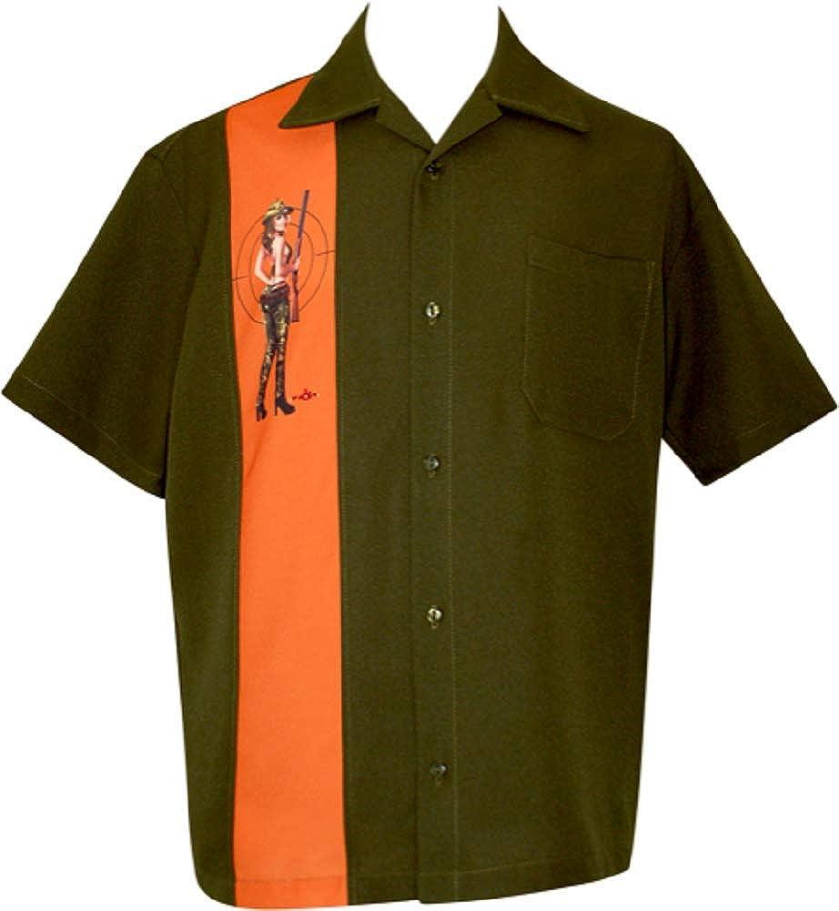 "BeRetro Camo Pinup Girl Men's Fun Hunting Vintage Shirt Button Up Short Sleeve Olive & Orange ~ ""Target Practice"""