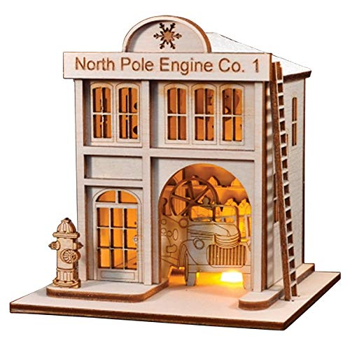 Old World Christmas North Pole Engine Co. #1 Firehouse Glass Blown Ornaments for Christmas Tree