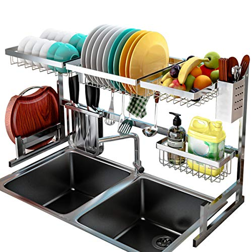 Over The Sink Dish Drying Rack, Kitchen Stainless Steel Dish Rack Over The Sink Shelf Storage Rack with Supplies Utensils Holder Hooks Dish Space Saver Racks (Sink Size ¡Ü 32in Silver)