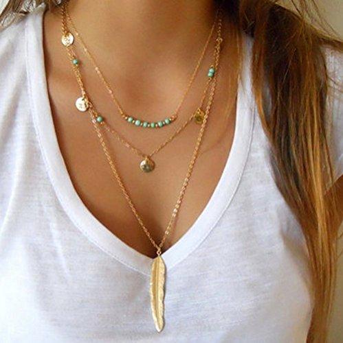 Yean Collar Bohemia largo multicapa con plumas y lentejuelas para mujeres y niñas