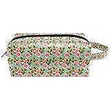 Bolsas de aseo de viaje con diseño de rosas rosas rosadas, color verde claro, bolsa de cosméticos para mujeres, bolsa de maquillaje de piel de microfibra con cremallera