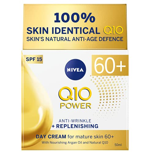 NIVEA Q10 Mature Anti-Wrinkle + Replenishing Day Cream (50ml), Firming Moisturiser for Mature Skin with Argan Oil, Natural Q10 & SPF15 Sun Protection