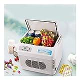 QLBF Refrigerador pequeño, caja fría de bajo ruido Refrigeradores compactos coches Nevera Mini frigorífico mini monitor portátil digital compacta Frigorífico personal, Cools y capacidad 12L cálido, re