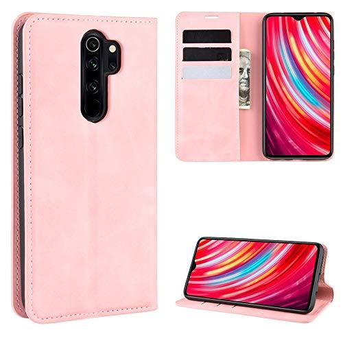 Yukiki For Xiaomi redmi Nota 8 Pro Retro-Piel magnético de la Caja de succión de Cuero con el sostenedor y Ranuras for Tarjetas y Monedero de Negocios (Negro) (Color : Pink)