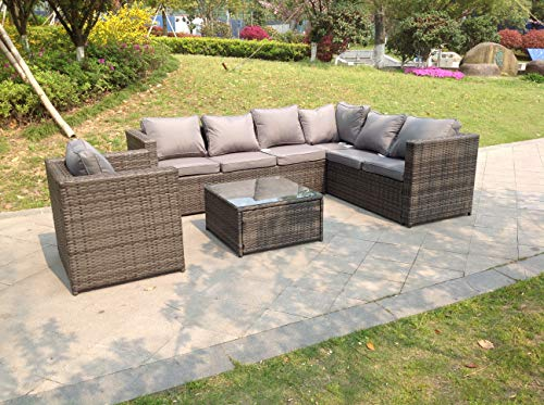 Fimous 7 Seater Grey Right Arm Rattan Corner Sofa Set Coffee Table Chair Garden Furniture Outdoor