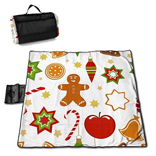 Suo Long Motif Graphique de Noël Star Cookies Fruits Bells Couverture de Plage Tapis de Pique-Nique