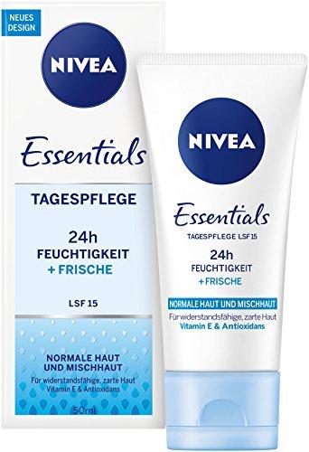 NIVEA Essentials Tagespflege 24h Feuchtigkeit + Frische im 1er Packung (1 x 50 ml),...