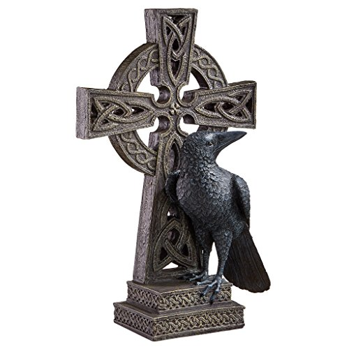 Design Toscano CL6486 Celtic Cross With Crow,two tone stone