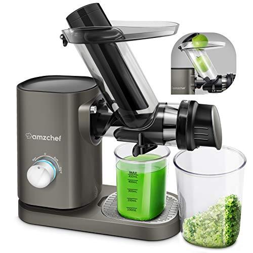 AMZCHEF Exprimidor profesional lento para frutas y verduras, dos velocidades licuadora prensado en frio, motor silencioso ≤ 60 dB, cepillo de limpieza y jarra de zumo incluida, gris plateado