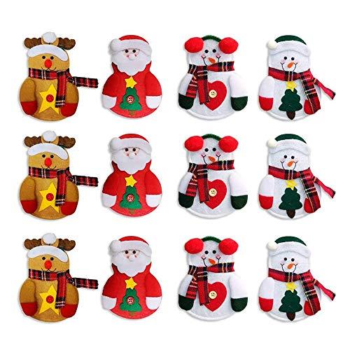 CHBOP 3 x 4 Stück Weihnachten Bestecktasche Besteckbeutel Besteckhalter Weihnachtsdeko tischdeko Rentier Schneemann Weihnachtsmann insgesamt