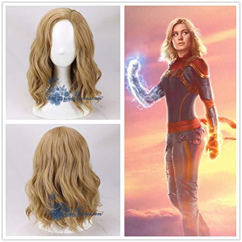 GHK Vrouwen Kapitein Marvel Coplay pruik Vrouwen Blond golvend haar goud pruik kostuums met gratis haardop