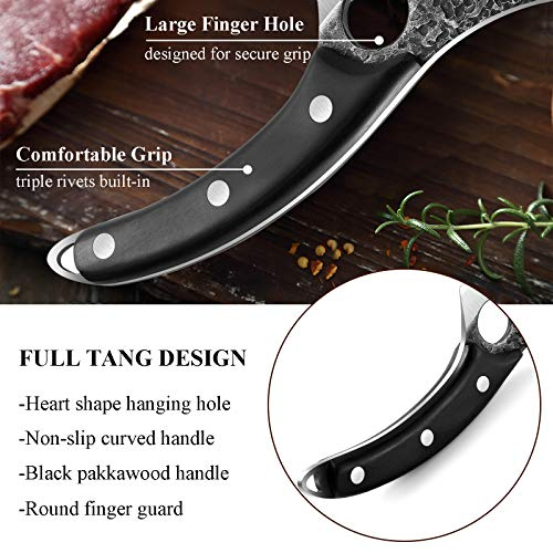 Hand Forged Boning Butcher Knife, High Carbon Steel Kitchen Fishing Fillet Knifes, Multipurpose Meat Vegetable Chopping Cleaver w/Sheath and Full Tang Handle for Camping, Deboning, Outdoor, BBQ
