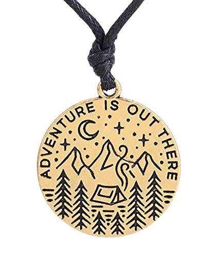 """Halskette mit Anhänger mit Gravur """"Adventure is Out There"""", verstellbar, NA, goldfarben antik-optik, M"""