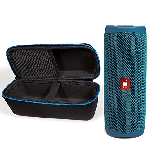 JBL Flip 5 Waterproof Portable Bluetooth Recycled Plastic Speaker Bundle with divvi! Protective Hardshell Case - Blue (Eco Edition)