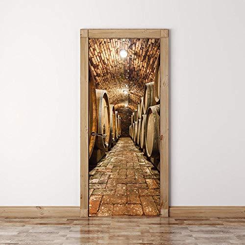 No brand 3D deurstickers bier 3D behangen fotobehang deurfolie poster behang afneembaar wandbehang voor woonkamer keuken slaapkamer. 95x215cm