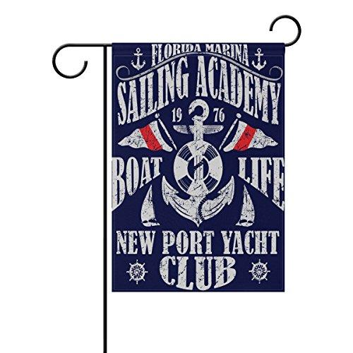 coosun voile Poster Design avec voilier mer et coucher de soleil polyester drapeau Jardin dans le jardin libre drapeau Home Party Décor, double face, 12 x 18