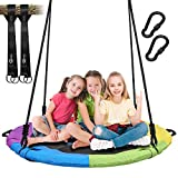 Trekassy 700 lb Saucer Tree Swing for Kids Adults 40 Inch Textliene Wear- Resistance Waterproof Frame with 2 Hanging Straps - Rainbow