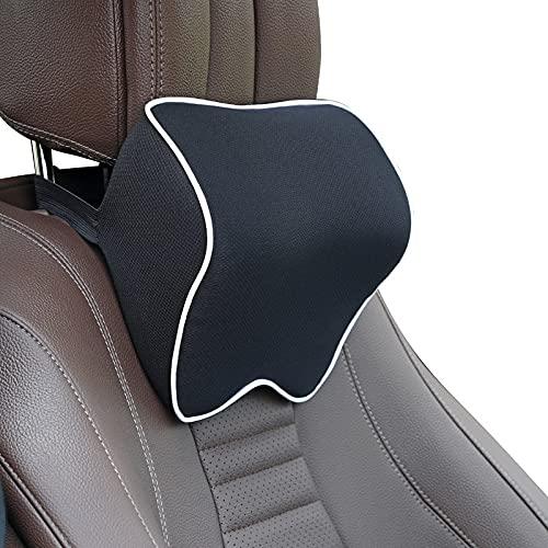 SHGUANMO Nackkudde för bil ländrygg stöd automatisk passform för sitthuvud stöd bil passar för se-at nackstöd kudde för kontorsstol kudde för bil auto (färg: svart vit)