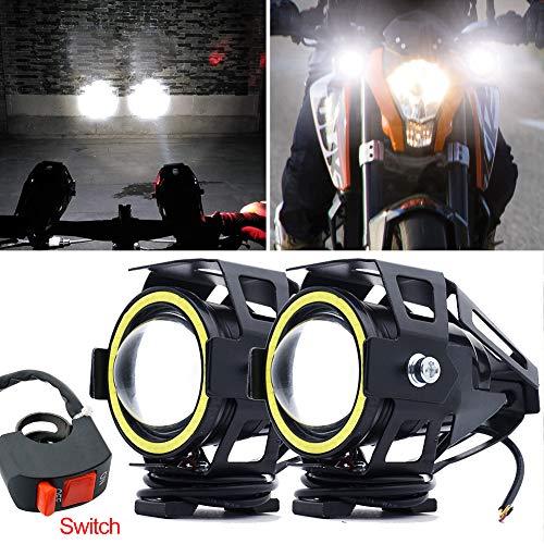 CREE U7 Faretti LED Moto,Biqing 2Pcs Fari Moto LED Faretto Anteriore 12V...