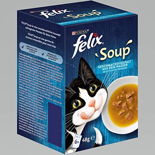 Felix Katzennassfutter Soup Geschmacksvielfalt aus dem Wasser mit Kabeljau, Thunfisch, Scholl, 8er Pack (8 x 48 g) Portionsbeutel