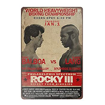 Super durable World Heavyweight Boxing Championship Rocky tin Signs Vintage bar Man cave Cafe Garage Home Wall Decoration Sign 8x12 inch