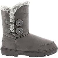 Botas de invierno con doble botón, impermeables, para mujer, color Gris, talla 39