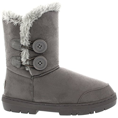 Botas de invierno con doble botón, impermeables, para mujer, color Gris, talla 37 EU