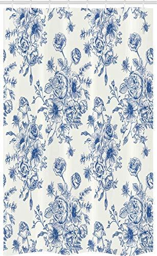 ABAKUHAUS anemoon Douchegordijn, Blue Floral Corsage, voor Douchecabine Stoffen Badkamer Decoratie Set met Ophangringen, 120 x 180 cm, Night Blue White