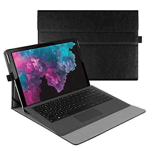 Fintie Hülle für Microsoft Surface Pro 7+/ Pro 7/ Pro 6/ Pro 5/ Pro 4/ Pro 3 12,3 Zoll Tablet - Multi-Sichtwinkel Hochwertige Tasche Schutzhülle aus Kunstleder, Type Cover kompatibel, Vintage Schwarz