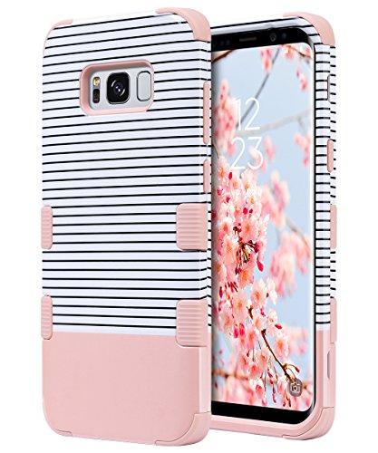ULAK Galaxy S8 Hülle, [Bunte Serie] Dünn Stylische Handyhülle 360 Hybrid Stoßfest Schutzhülle Tasche Hart PC + Weiche Silikon Case Cover für Samsung Galaxy S8 - Roségold Streifen
