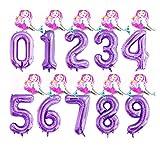 JSJJARF Globos 2 Piezas de 40 Pulgadas de Aluminio Partido Globos púrpura Digital Globo Mini Sirena 0-9 decoración de Feliz cumpleaños (Color : 4, Shape : 7)