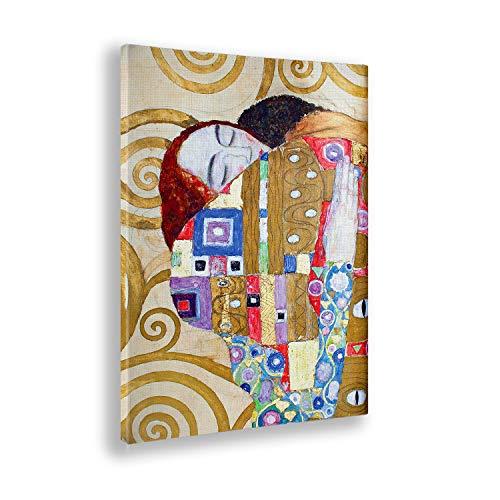 Giallobus - Quadro - Gustav Klimt - L'abbraccio degli Amanti - Stampa su Tela Canvas - Pronto da Appendere - Vari Formati - 50x70 cm