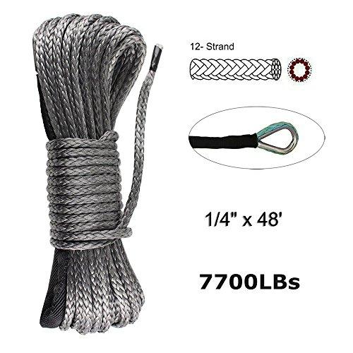 Synthetische Seilwinde Line Kabel 1/4 x 48 '(5 mmx15 m) 7700lbs Seilwinde ATV UTV Quad Dyneema SK78 Kunststoff 4 x 4 Offroad WI
