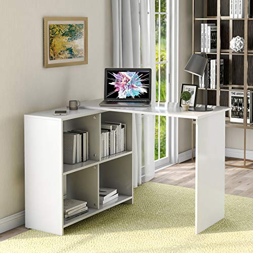 Zebery L-Computer Desk - Escritorio con gran espacio de almacenamiento, mesa de escritorio, para casa, oficina, color blanco
