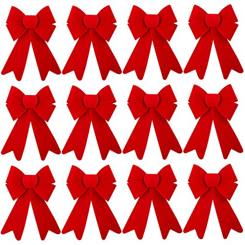 Aneco 12 Pack Red Christmas Bow Xmas Wreaths Bows Red Velvet Christmas Bows for Christmas Indoor and Outdoor Decorations