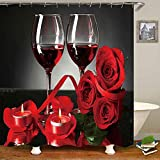 Hankyky Red Rose and Wine Shower Curtain Rose Printed Shower Curtain Set,Bathroom Mat Non Slip,Polyester Durable Waterproof Shower Curtain with 12 Hooks Valentines Gift Wedding Romantic Bathroom Decor