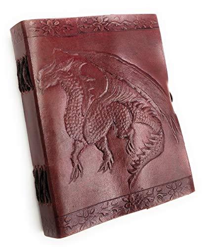 Kooly Zen - Taccuino con blocco note, diario, libro, vera pelle, vintage, drago medievale, chiusura in metallo vintage, 13 x 17 cm, 240 pagine, carta premium