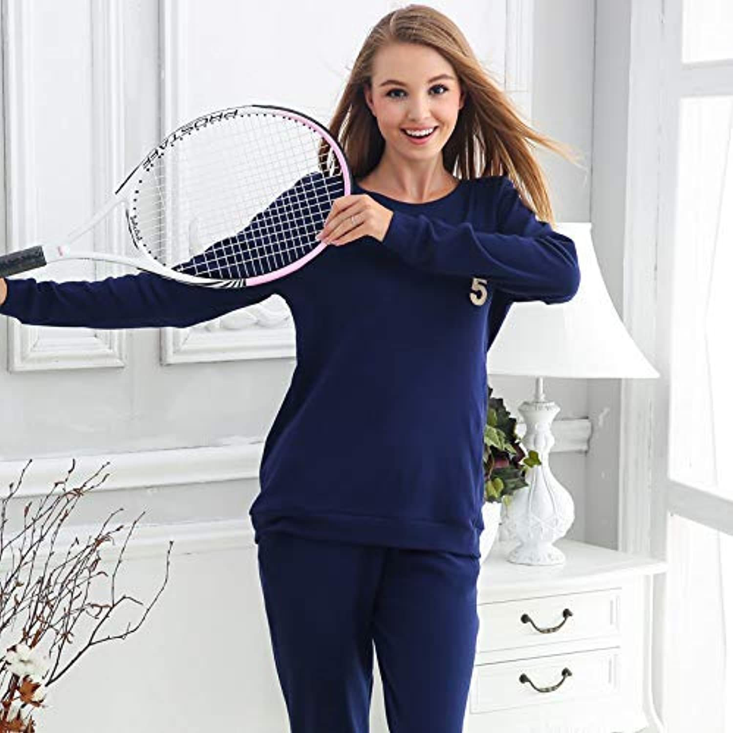 Cute Pajamas Spring and Autumn Korean Women's Loose Cotton Pajamas LongSleeved Casual Sports Cotton can be Worn Outside Home Service Suits (color   Navy bluee, Size   L) Sexy Sleepwear