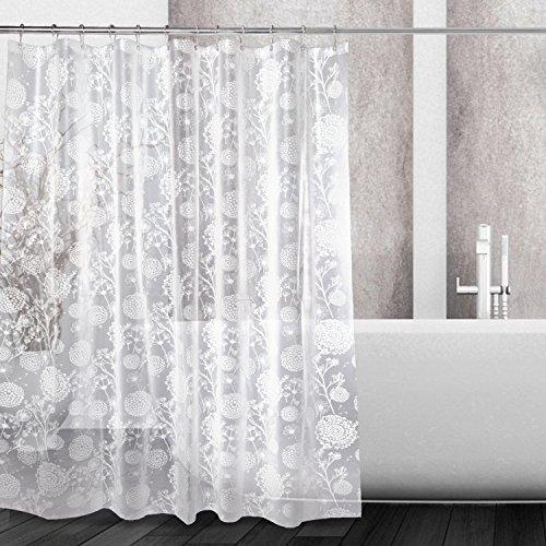 LeeTia PEVA 5G Shower Curtain Liner Waterproof with 12 Metal Hooks 72x72 Inches - Dandelion