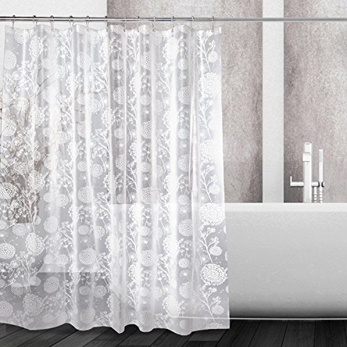 Kalokelvin PEVA 5G Shower Curtain Liner Waterproof with 12 Metal Hooks 72x72 Inches - Dandelion