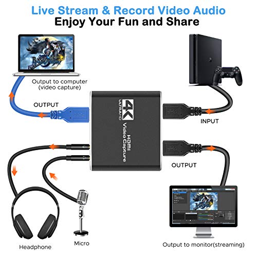 Capture Card, Audio Video Capture Card with Microphone 4K HDMI Loop-Out, 1080p 60fps Video Recorder for Gaming/Live Streaming/Video Conference, Works for Nintendo Switch/PS4/OBS/Camera/PC