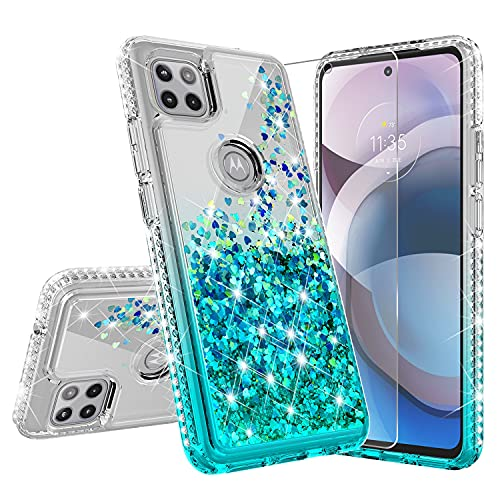 GALAXY WIRELESS Case for Motorola Moto One 5G Ace Liquid Glitter Phone Case Cover w[Tempered Glass Screen Protector] Shock Proof Protection for Girls Women - Aqua/Clear