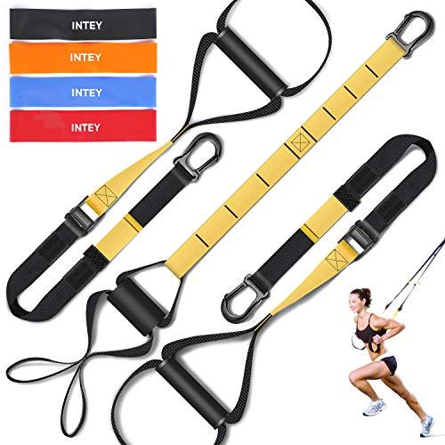 INTEY Suspension Training, Bande Elastiche Fitness Incluso Ancoraggio Porta, Cinghie di Maniglie Ammortizzate e Poster, per Build Muscolare, Eesercizio Aerobico