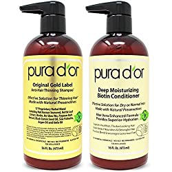 professional PURA D'OR Biotin Original Gold Label Thinning (16 oz x 2) Shampoo  Conditioner Set,…