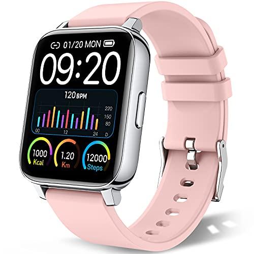 """chalvh Smartwatch Mujer, 1.69"""" Táctil Completa Reloj Inteligente, Reloj Deportivo con Podómetro y Caloría, Pulsómetro, Monitor de Sueño, Pulsera Actividad Impermeable IP67 para iOS y Android (Rosa)"""